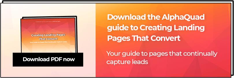 Creating landing pages PDF download CTA